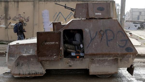 Самодельный бронеавтомобиль в Кобани