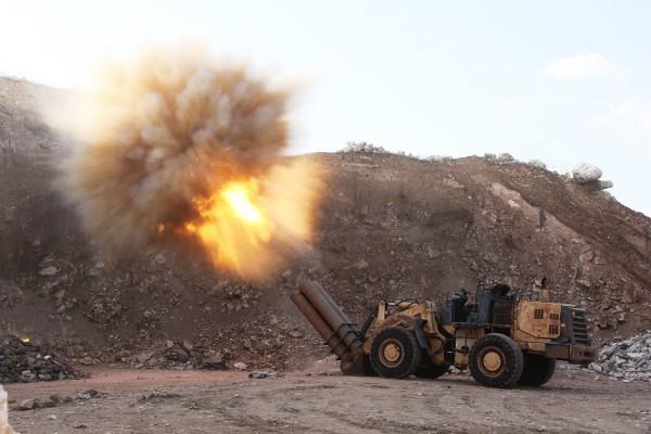 Самодельная ракетная установка повстанцев в городе Алеппо